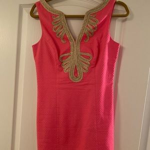 Lilly Pulitzer pink and gold dress